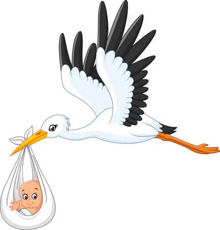 Cartoon stork carrying baby Vectores
