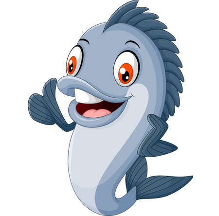 cartoon fish giving thumb up