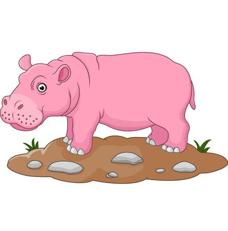 hipopotamo caricatura: ilustraci�n de dibujos animados lindo del hipop�tamo Vectores