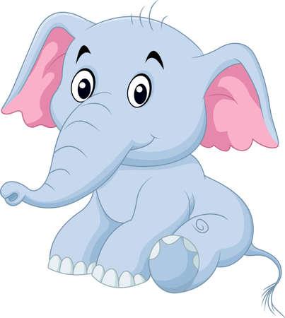 illustration of Cute baby elephant sitting isolated on white background