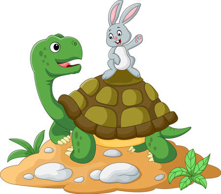 illustration of cartoon turtle and rabbit