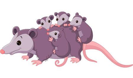 possum: illustration of cute cartoon possum with childs