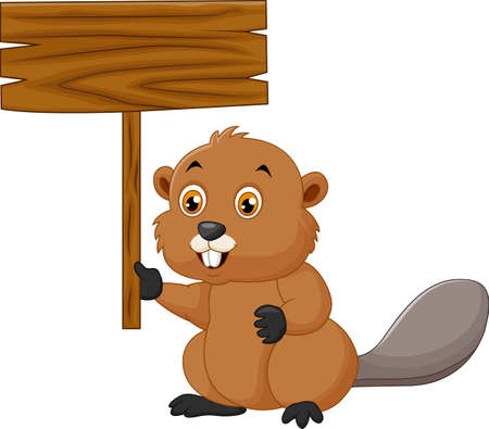 varmint: illustration of cartoon beaver holding blank sign Illustration