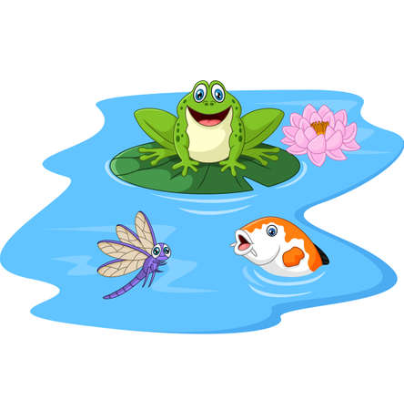 croaking: illustration of Cute green frog cartoon on a lily pad