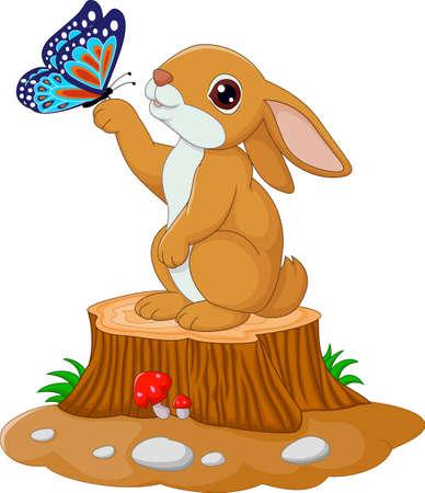 Illustration von Cute Hase stehend auf Baumstumpf