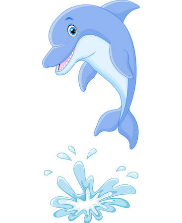 skip: illustration of Cute cartoon dolphin jumping out of water
