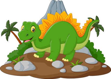 illustration of Cartoon happy dinosaur Illustration