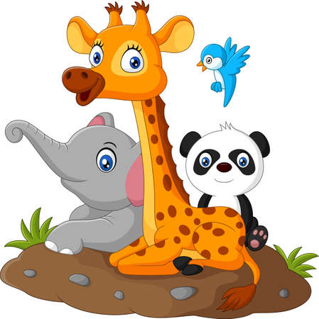 illustration of Happy safari animal cartoon