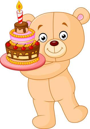 birthday cakes: illustration of bear holding birthday cake