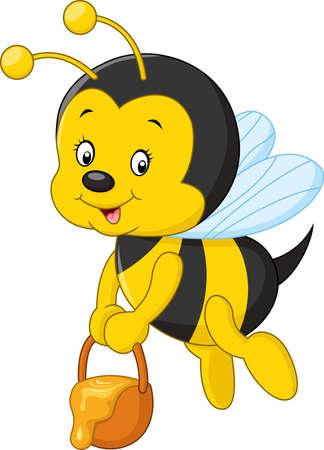 illustrazione di volare api del fumetto che tiene miele secchio