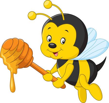 illustratie van cartoon bee met honing