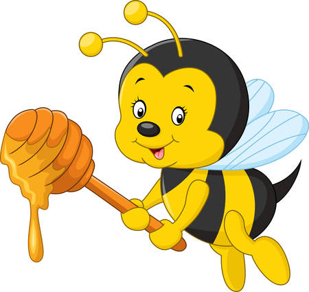 illustration of Cartoon bee holding honey Illusztráció