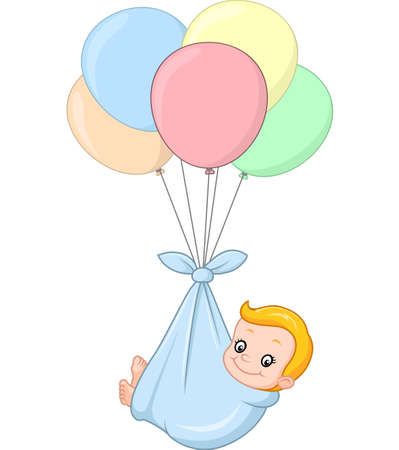 carried: illustration of cartoon baby and balloon