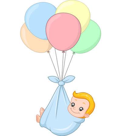 illustration of cartoon baby and balloon