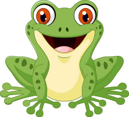 croaking: illustration of Cartoon cute frog Illustration