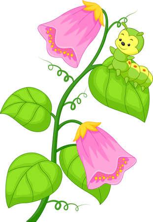 children caterpillar: illustration of cartoon caterpillar on the plant Illustration