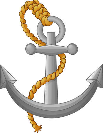 anchored: anchor with rope isolated on white background