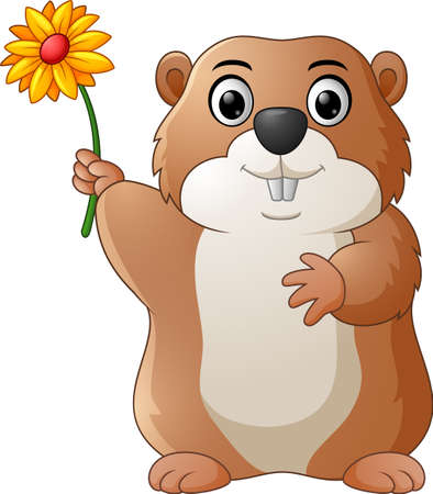 varmint: cartoon groundhog hold flower Illustration