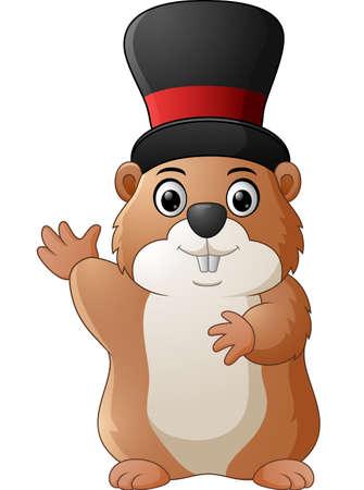hog: Cartoon happy ground hog waving