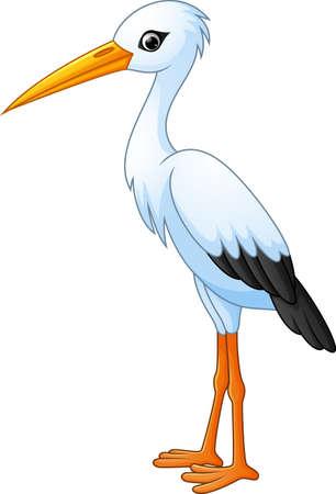 cartoon white stork