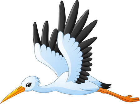 Cartoon stork flying