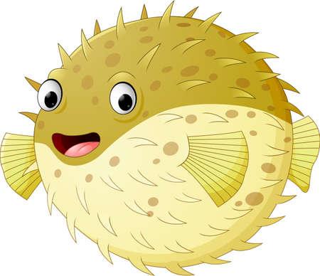 Cartoon funny puffer fish Illustration