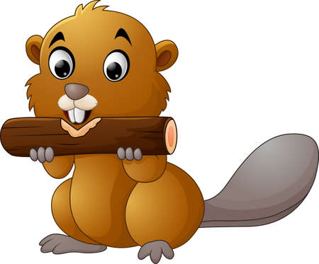 Illustration of a beaver on a white background