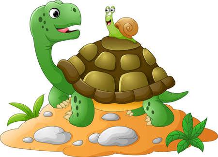 Caracol de jardín curioso teniendo un ascensor en la parte posterior de la tortuga