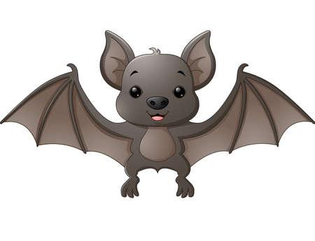 Cute bat cartoon flying Illusztráció