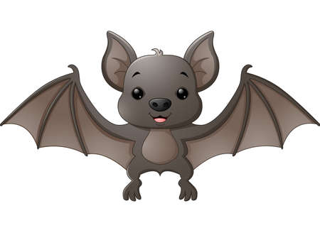 Cute bat cartoon flying 矢量图像