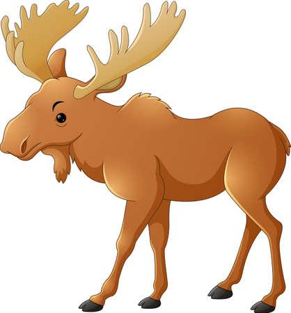 grazing: Cute deer cartoon Illustration