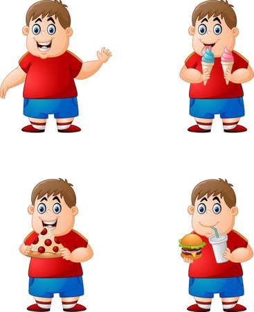 kid illustration: set of boy eating junk food