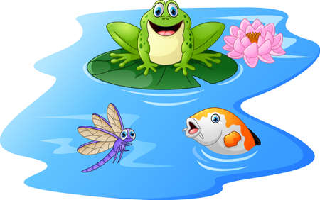 croaking: Cute green frog cartoon on a lily pad