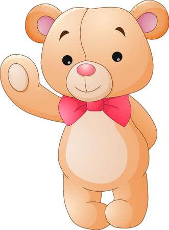 cute bear: Cute cartoon teddy bear waving Illustration