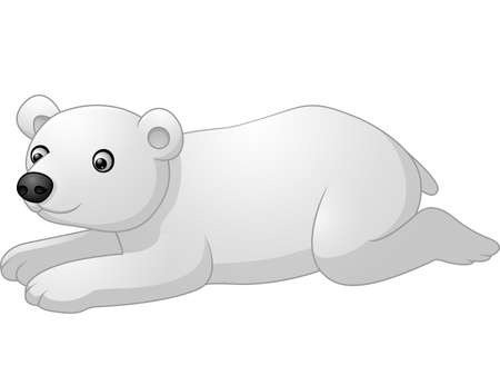 lay down: Cute polar bear cartoon lay down