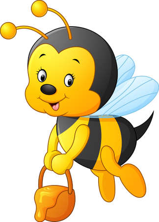 flying Bee cartoon holding honey bucket