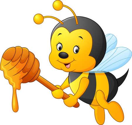 Cartoon Biene halten Honig