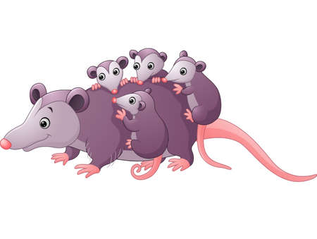 possum: cute cartoon possum with childs