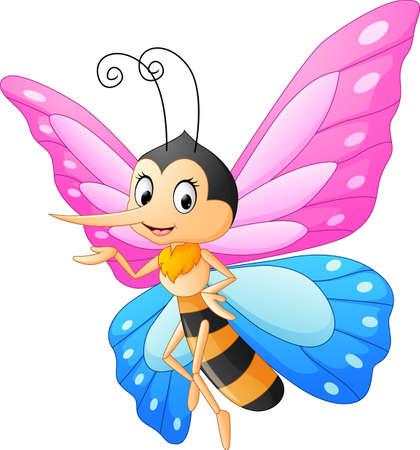 Cute butterfly cartoon presenting Vettoriali