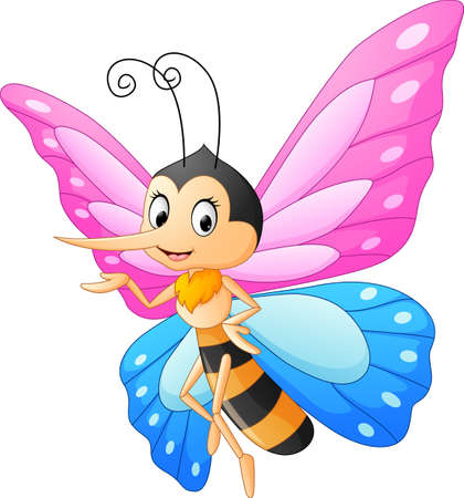 Cute butterfly cartoon presenting Vectores