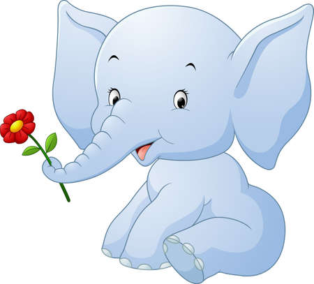 Cartoon elephant holding flower