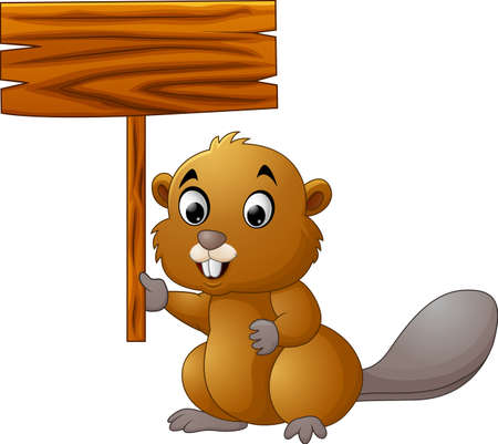 varmint: cartoon beaver holding blank sign
