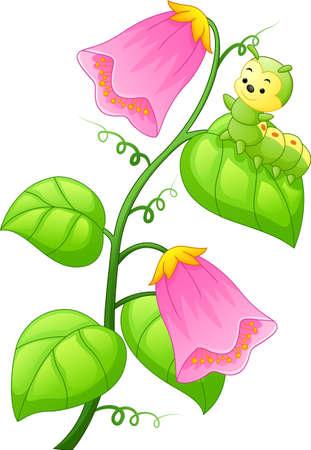 Cartoon caterpillar on the plant Vektorové ilustrace