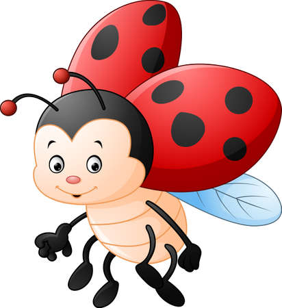 cartoon bug: Cartoon ladybug waving Illustration