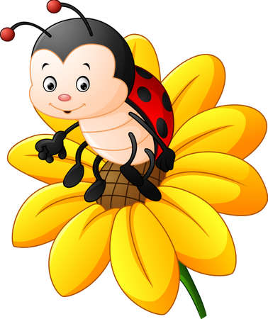 Cartoon ladybug on the sun flower  イラスト・ベクター素材