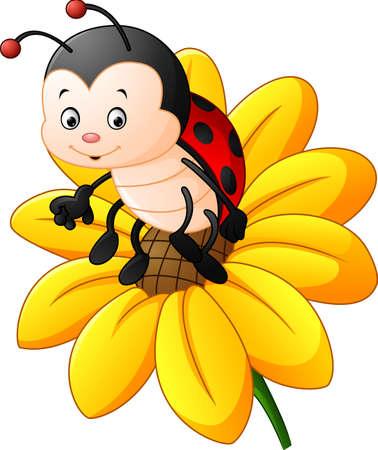 Cartoon ladybug on the sun flower Illustration