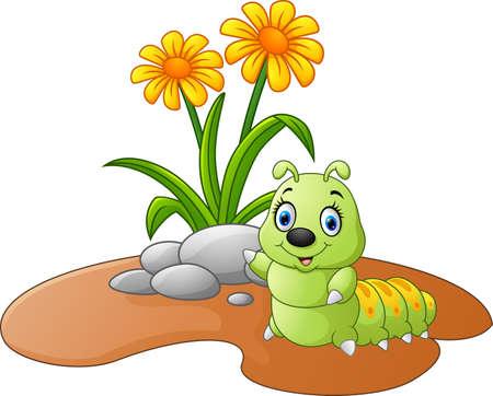 oruga: Ilustración de una flor con orugas Vectores