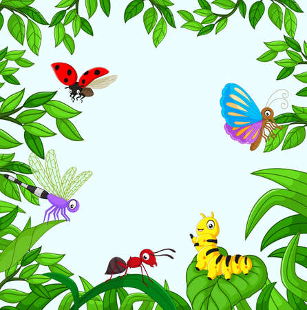 illustration of Cartoon insect in the garden