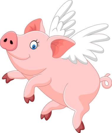 vector illustration of Cute pig cartoon flying