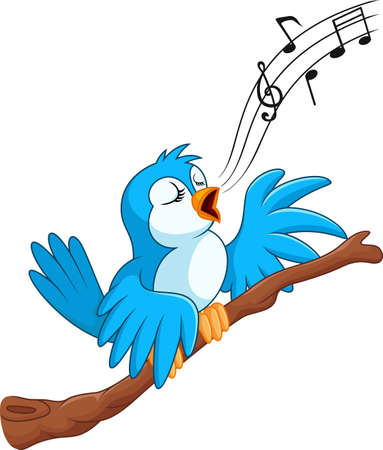 birdsong: vector illustration of Cartoon bird sing on the branch Illustration